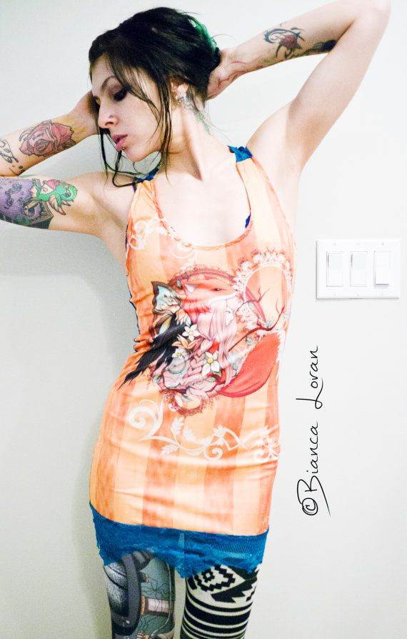 Fox Girl  Pretty Lace Tunic racerback Top Tank by biancaloran