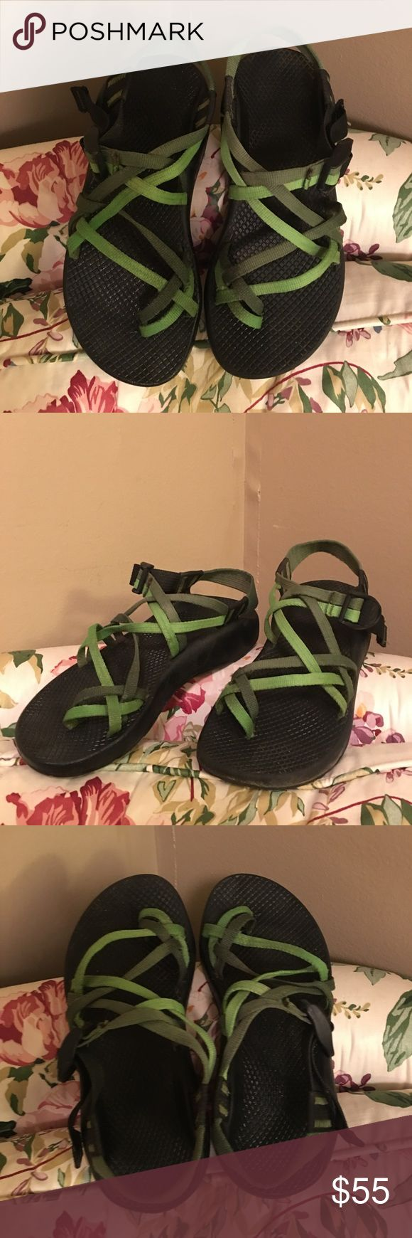 Green Chaco Zvolv X2 Sandal These are in pretty great condition with many years of wear left in them! The straps are adjustable and are 2 different shades of green. Great for traveling, hiking, walking or any day-to-day adventure! :-) Chaco Shoes Sandals