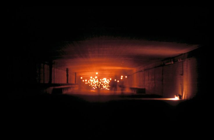 """Deutzer Brücke COLOGNE, 1997 The first installation and exhibition inside the bridge over the Rhine in Cologne during the International Furniture Fair Cologne in 1997 """"An eerie and uncanny wonderful approach with light and yourself"""""""