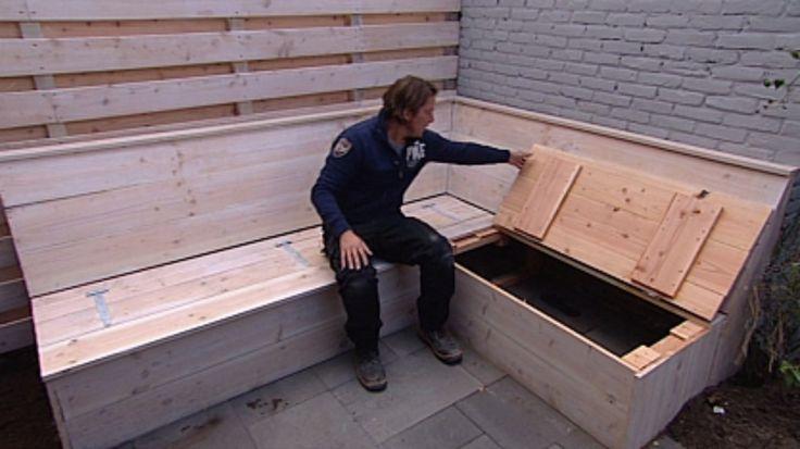 Zelf steigerhouten hoekbank maken met opbergruimte for Zelf meubels maken van hout