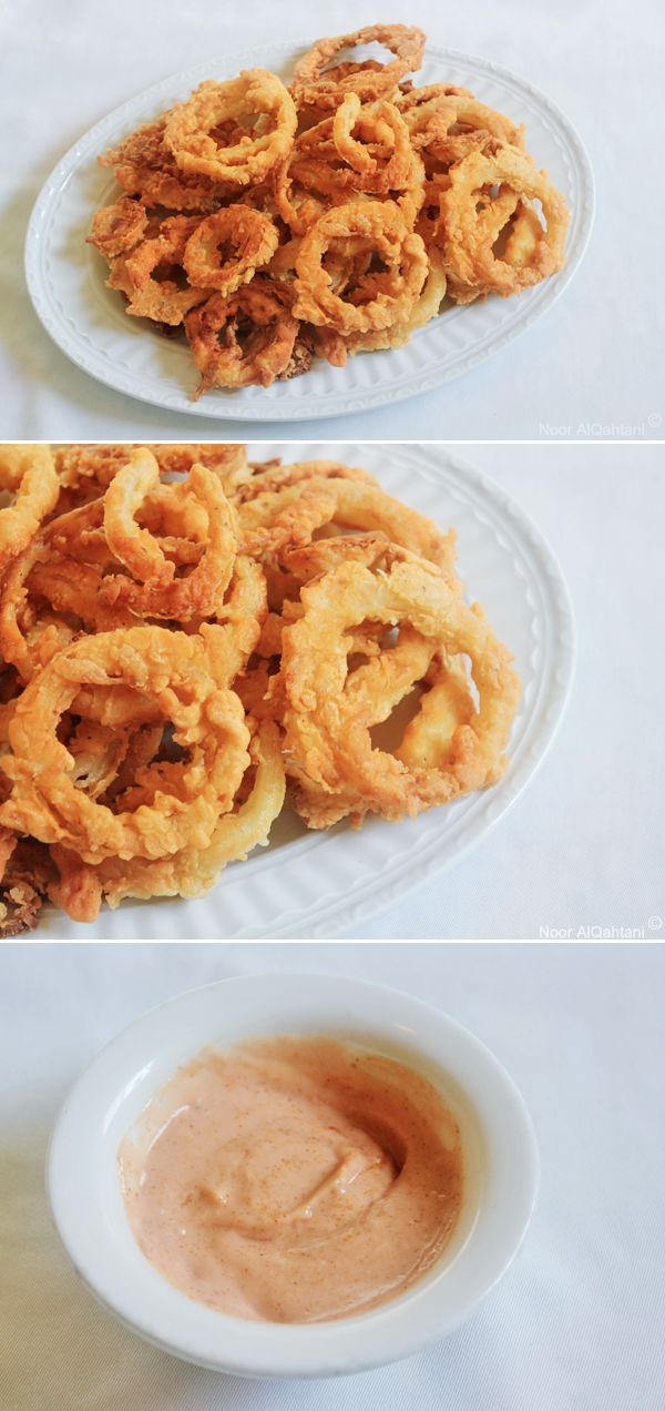 onion rings, I made sure to make the rings really thin, doubled battered with …