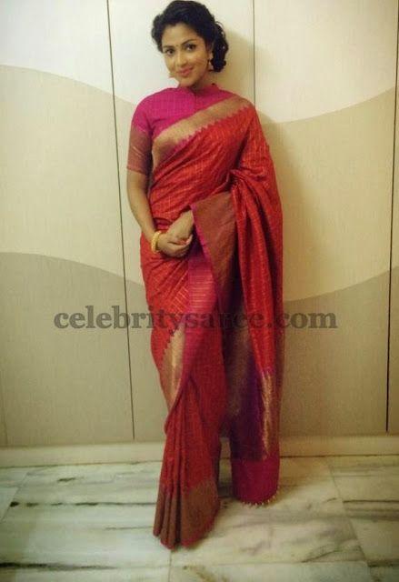 Amala Paul Chanderi Traditional Saree | Saree Blouse Patterns