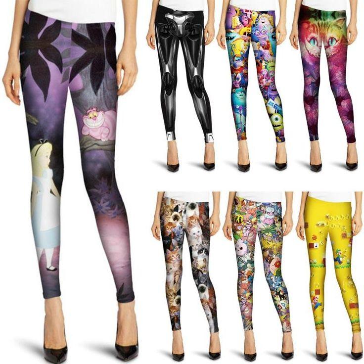 New Fashion Cartoon Digital 3D Printed Leggings Summer Spring Harajuku Style Fitness Women Sport Leggins Lady Elastic Pants