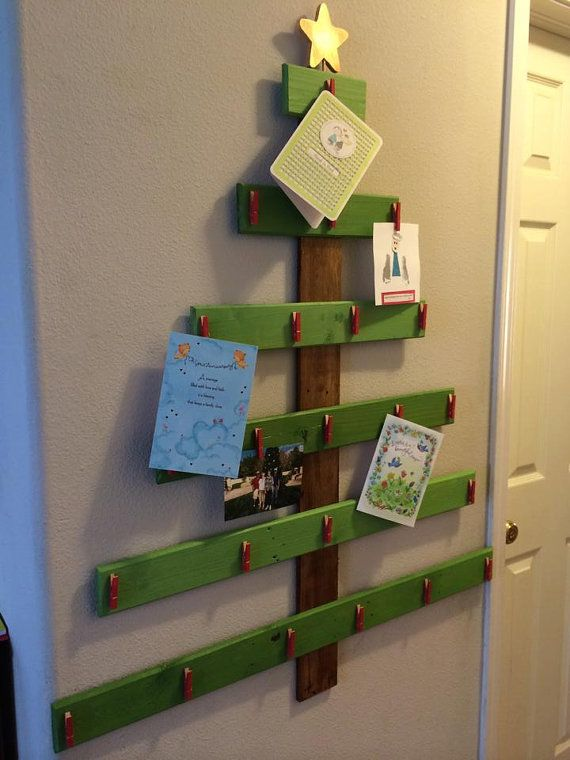 Wooden Christmas Tree Card holder by MySquareWoodworking on Etsy