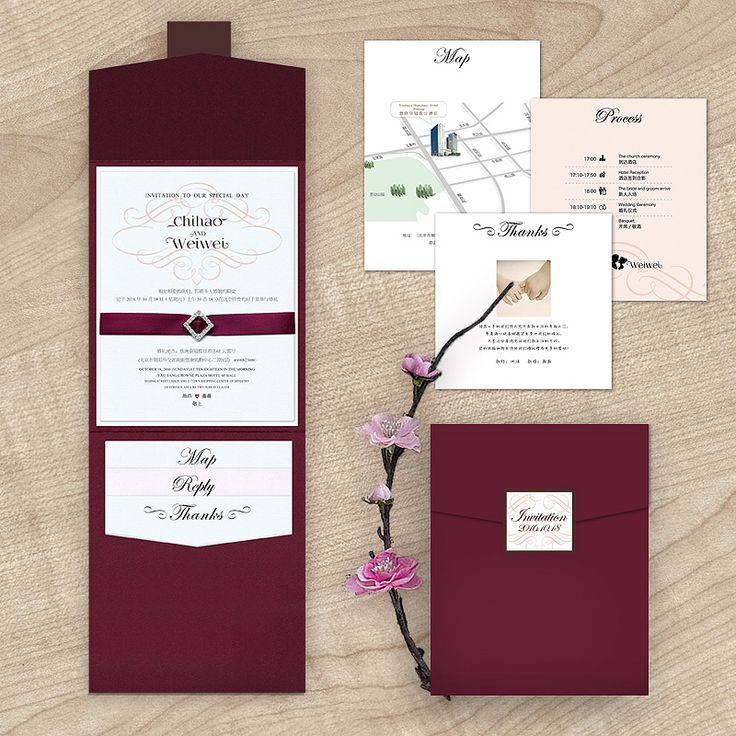 burgundy wedding invitations with maps - Google Search www.aliexpress.com