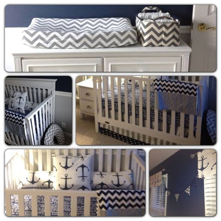 Project Nursery - Nautical Navy and Grey-- chevron and anchors