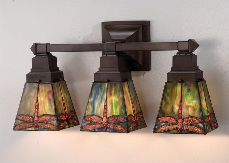 Perfect for a Craftsman style home… Meyda Tiffany 3-Light Bathroom Fixture, Drophead Dragonfly – $288