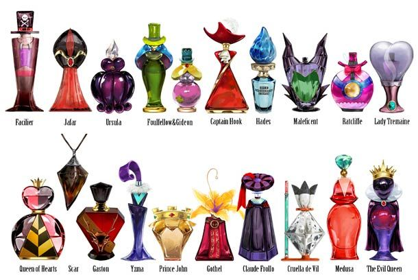 Perfume bottles beautifully inspired by thevillains from the Disney movies, from Scar to Ursula through Jaffar, Cruella and other... A series of concepts desi