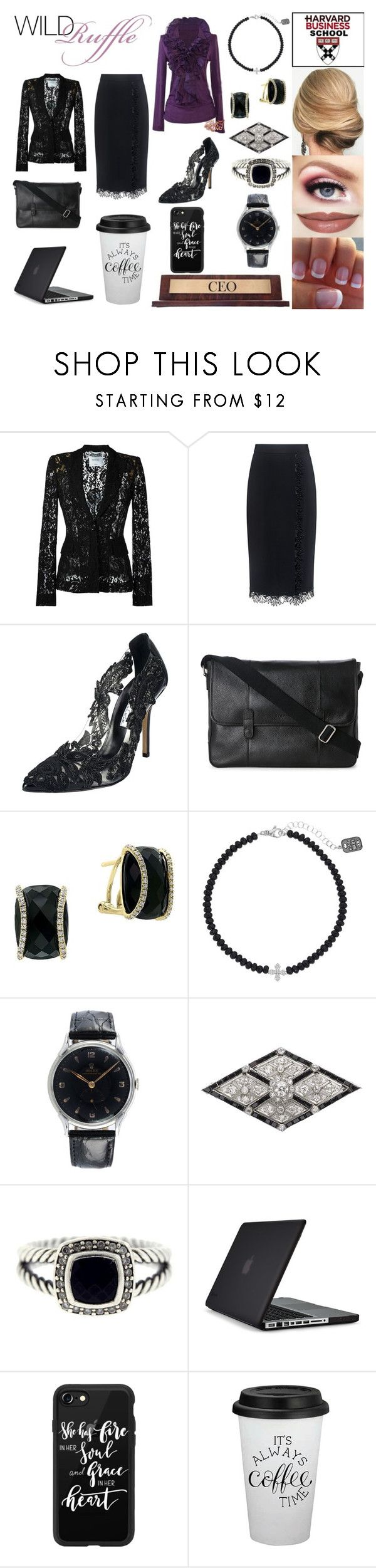 """""""Ruffles In The Boardroom"""" by bethnjulia ❤ liked on Polyvore featuring Moschino, A.L.C., Oscar de la Renta, Cole Haan, Effy Jewelry, King Baby Studio, Rolex, David Yurman, Speck and Casetify"""