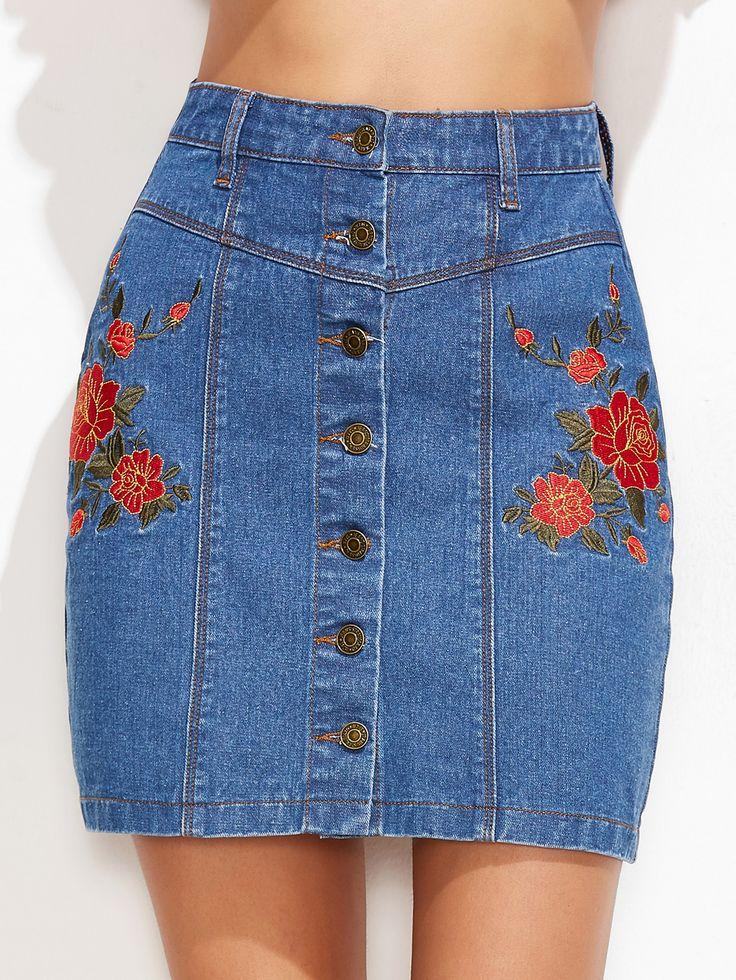Shop Blue Flower Embroidered Button Up Denim Skirt online. SheIn offers Blue Flower Embroidered Button Up Denim Skirt & more to fit your fashionable needs.