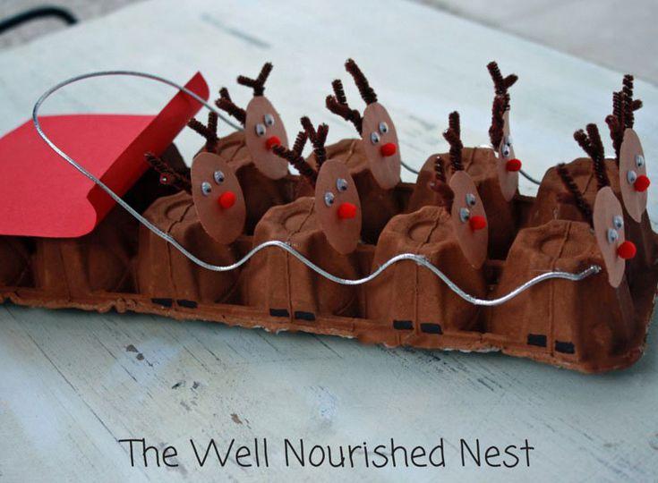 Turn an egg carton into cute reindeer sledding!