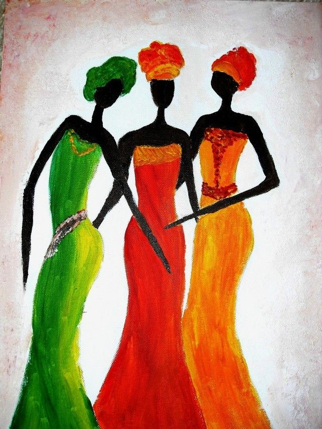 Print Of Original Painting African Ladies, Wall Decor, Wall Art, For The Home £18.00