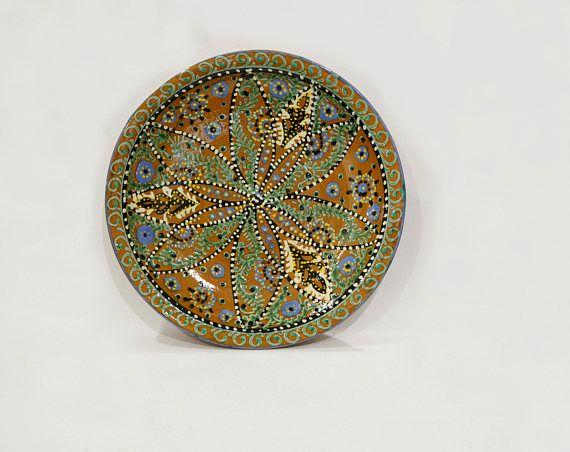 Old ceramic plate Vintage plate Large plate Ceramic glaze