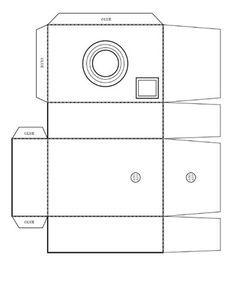 Carton recyclé en appareil photo: gabarit