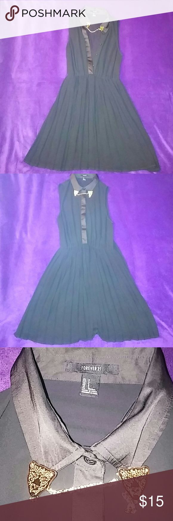 "Forever 21 Black Dress EUC Practically New. Removable gold tiger collar chain. All bottons intact. 100% sheer polyester. Super Sexy I am 5'6"" and the dress falls at finger tips ""mid thigh"" Forever 21 Dresses Mini"