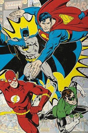 Buy DC Comics Batman, Green Lantern, The Flash And Superman Poster | Oneposter.com | UK Store
