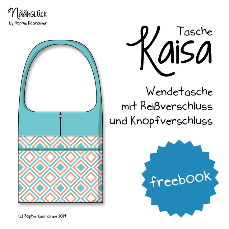 "Näähglück by Sophie Kääriäinen: Freebook Tasche ""Kaisa"" (This bag tutorial is in German, but there are pictures and a video you can watch that show how to make it)."