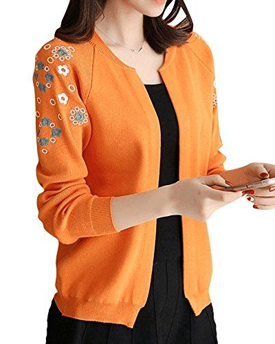 2027b913b8eb Femme Veste Courte Fleurs Brodées Manche-longue Cardigan Orange M ...