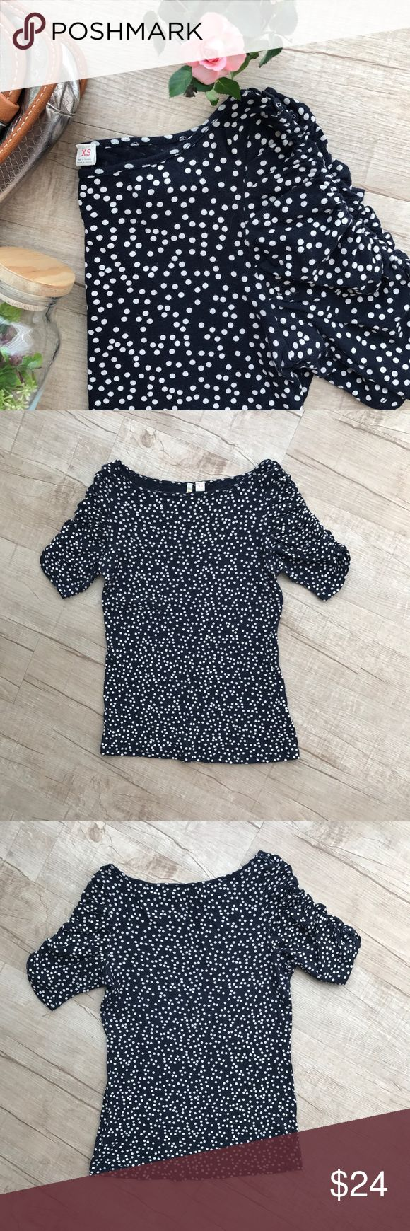 """Little Yellow Button Polka Dot Tee * navy blue w/ivory polka dots * adorable ruched sleeve  * button detail on shoulder & sleeve * bust (laid flat, on one side) - 14"""" * length - 23"""" * 100% Cotton * good used condition Anthropologie Tops Tees - Short Sleeve"""