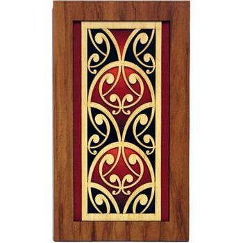 New Zealand Rimu Wall Art with Coloured Kowhaiwhai Fish Scale Design - http://www.silverfernz.com/4196-rimu-wall-art-with-coloured-kowhaiwhai-rafter-design.htm
