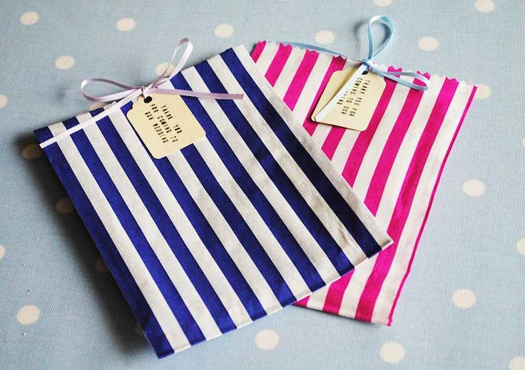 These striped sweet bags from Creative and Contemporary Handmade would be perfect for pick and mix wedding favours