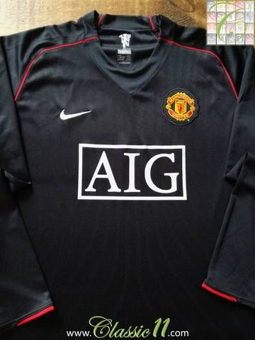 6c085a951 Official Nike Manchester United away long sleeve football shirt from the  2007 08 season.