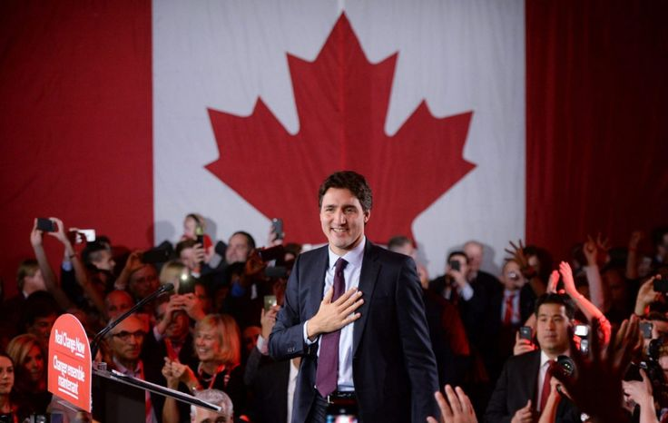 Prime Minister Justin Trudeau is seen on stage at Liberal party headquarters after winning the election in 2015. The Liberal party says it has now paid off its election debt thanks to new supporters and fundraising.