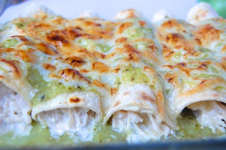 Chicken Enchiladas with Creamy Salsa Verde {skinny recipe}