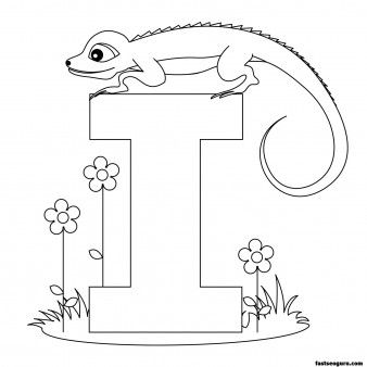 Printable Animal Alphabet Letter I for Iguana - Printable Coloring Pages For Kids