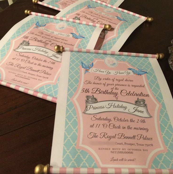 wording0th birthday party invitation%0A The Well Styled Child  Handmade scroll invitations for a Royal Cinderella  themed birthday party
