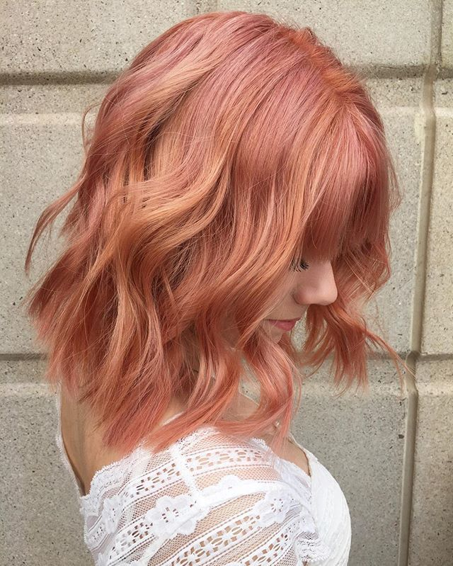 #throwback to this beautiful sorbet color I did on the lovely Amber. Did pin wheel sections around the whole head, alternating two formulas.. Coral: 20g elc 20g 0n 2g L r/v 4g L o/y .. Dusty pink: 20g elc 20g 0n 4g L r/v 2g L o/y #avedacolor #inspiregreatness #aveda #shareaveda