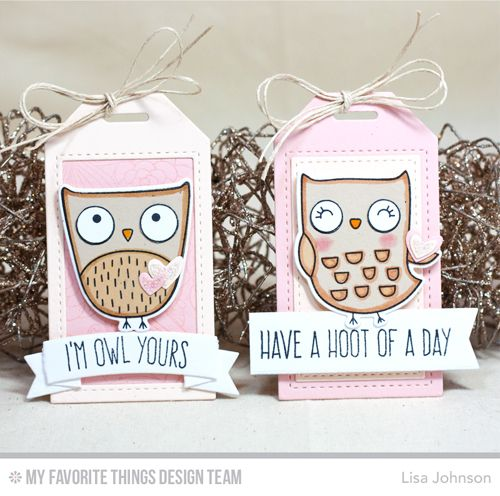 Handmade tags from Lisa Johnson featuring My Favorite Things stamps and Die-namics #mftstamps