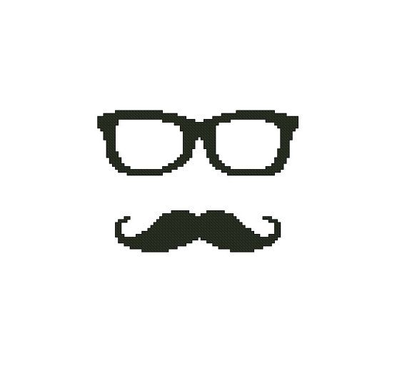 Cross stitch pattern PDF Glasses and mustache by CrossStitchForYou, $4.50