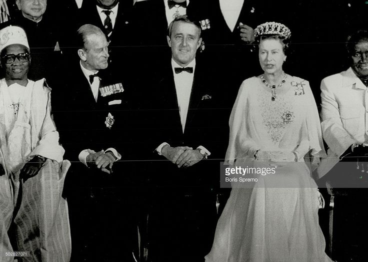 13 OCTOBER 1987  Prime Minister Brian Mulroney is flanked by the Queen and Prince Philip while posing for a group photo in Vancouver last night just before the royal couple hosted a dinner for Commonwealth leaders.