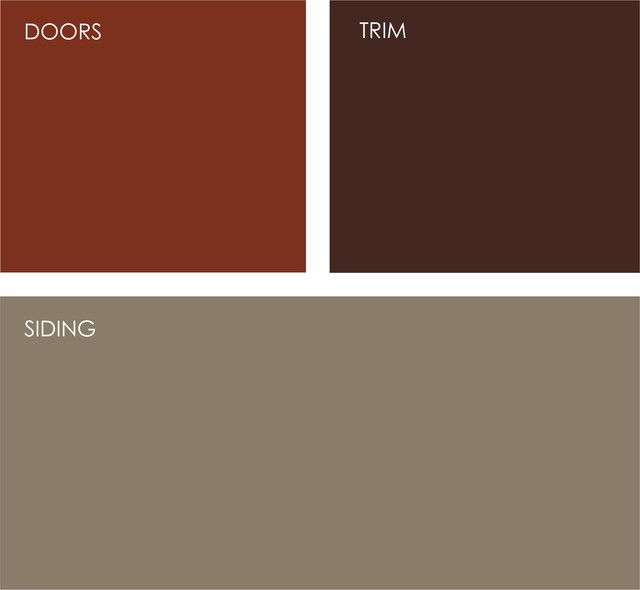 Exterior: Taupe is a terrific neutral to work with. Dress it up with rich orange-red doors and a deep, dark burgundy trim. Clockwise from top left, all from Sherwin-Williams: Roycroft Copper Red SW2839, Polished Mahogany SW2838 and Virtual Taupe SW7039.