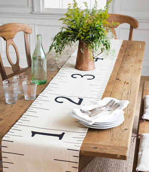 "Oh my gosh! How cute would this be at a wedding!! ""How to make a cute table runner out of a drab hardware-store dropcloth."" http://countryliving.com/crafts/projects/hardware-decor-0211#slide-2Decor, Ideas, Drop Cloths, Tables Runners, Table Runners, Tape Measuring, Ruler Tables, Crafts, Drop Clothing"