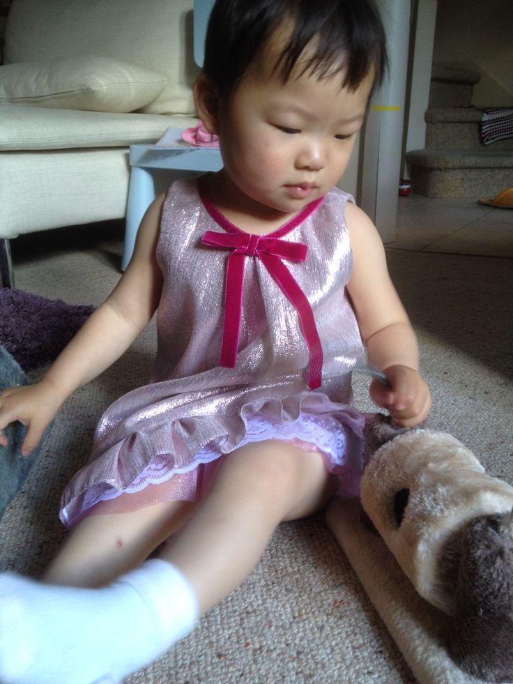 Silk A-line dress with velvet bow