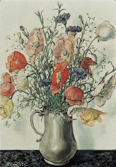 Léonard Tsuguharu Foujita (1886-1968) - Poppies in a vase