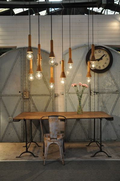 #steampunk interior, industrial office, lighting gold