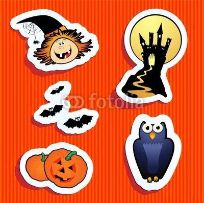 Funny Halloween stickers :)  #Halloween #icons #vector