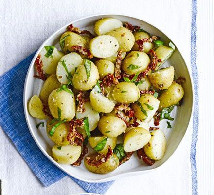 Mediterranean potato salad. Skip the mayo and go for an Italian-style olive oil dressing for warm new potatoes. Jazz them up with basil, Parmesan and sundried tomatoes