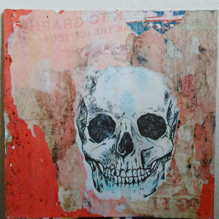 Ghost Town decollage on unframed Matboard/Torn poster collage/gift ideas by…