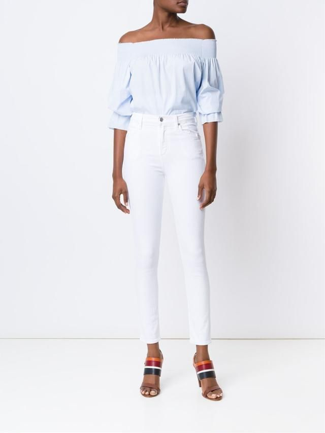 Fresh Outfit Ideas for White Jeans - Summer Outfit - Off the Shoulder Blouse, White Jeans, Rainbow Sandals