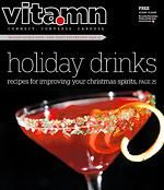 MISTLETOE (Drink)----  1 ½ oz. citrus vodka  ¾ oz. pomegranate juice  ¾ oz. defrosted lemonade concentrate (strained of pulp)  2-3 drops orange blossom water  Ice  Cava (or any dry sparkling wine)  Shaker and strainer  Martini glass  Garnish: Equal parts red, white and green decorative sugar  Pomegranate seeds  Orange twist