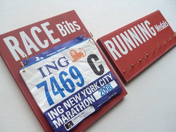 running medals holder and running bibs holder by runningonthewall, $48.00