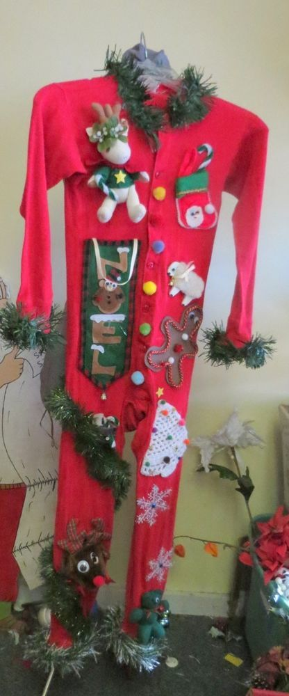 OUTRAGEOUSLY TACKY UGLY CHRISTMAS SWEATER PARTY UNION SUIT LONG JOHNS   #TACKYUGLYCHRISTMASSWEATERS #LONGJOHN a new set of long johns, large kid, small adult size, our set last year was one of our top repinned pins!