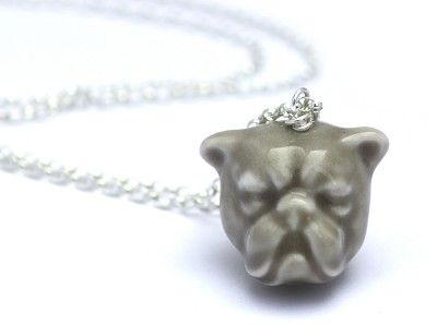 Porcelain Bulldog Necklace in Grey with Silver Chain #porcelain #contemporary #boutique #London  #designer #jewellery #handmade #NudeJewellery