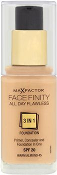 Max Factor Face Finity All Day Flawless 3in1 Max Factor Face Finity All Day Flawless 3in1 Foundation THE HOLD OF A PRIMER, CORRECTION OF A CONCEALER AND FINISH OF A FOUNDATION. Face Finity All Day Flawless 3 in 1 foundation holds like a primer, http://www.MightGet.com/january-2017-12/max-factor-face-finity-all-day-flawless-3in1.asp