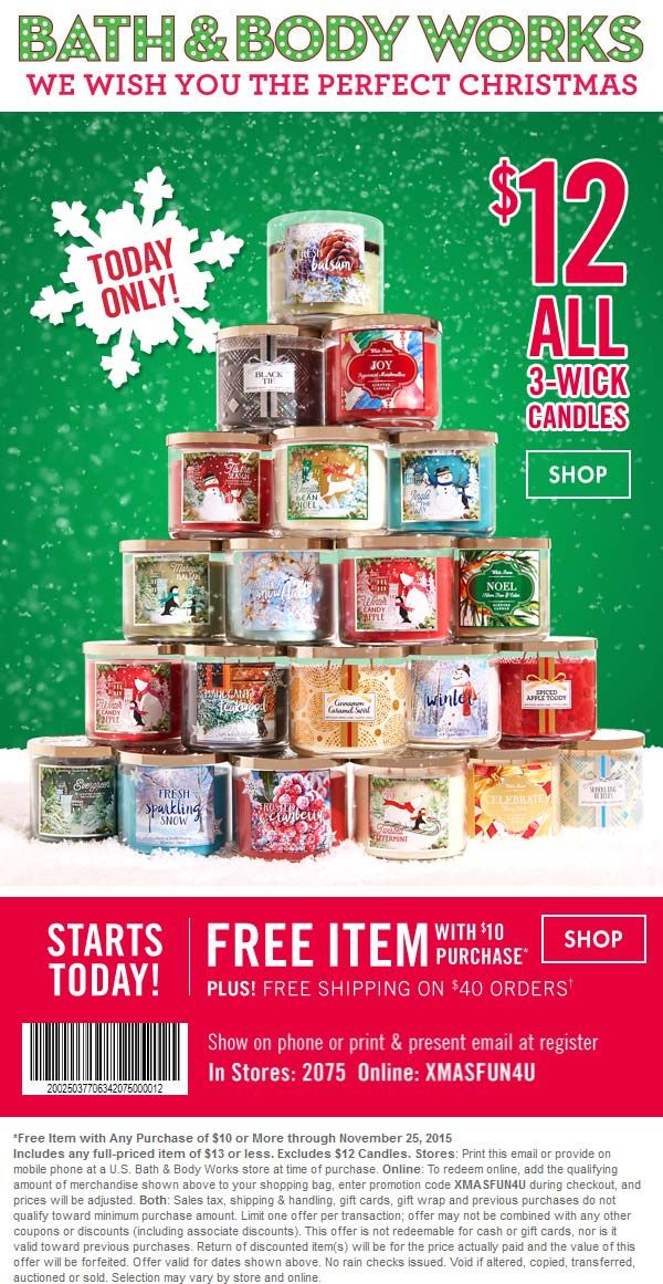 Pinned November 23rd: $13 item free with $10 spent at Bath & #Body Works or online via promo code XMASFUN4U #coupon via The #Coupons App