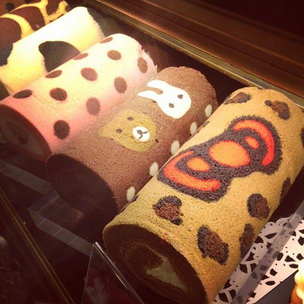 Cute #hellokitty sponge cake rolls #taipei. Probably for tokyo banana fans